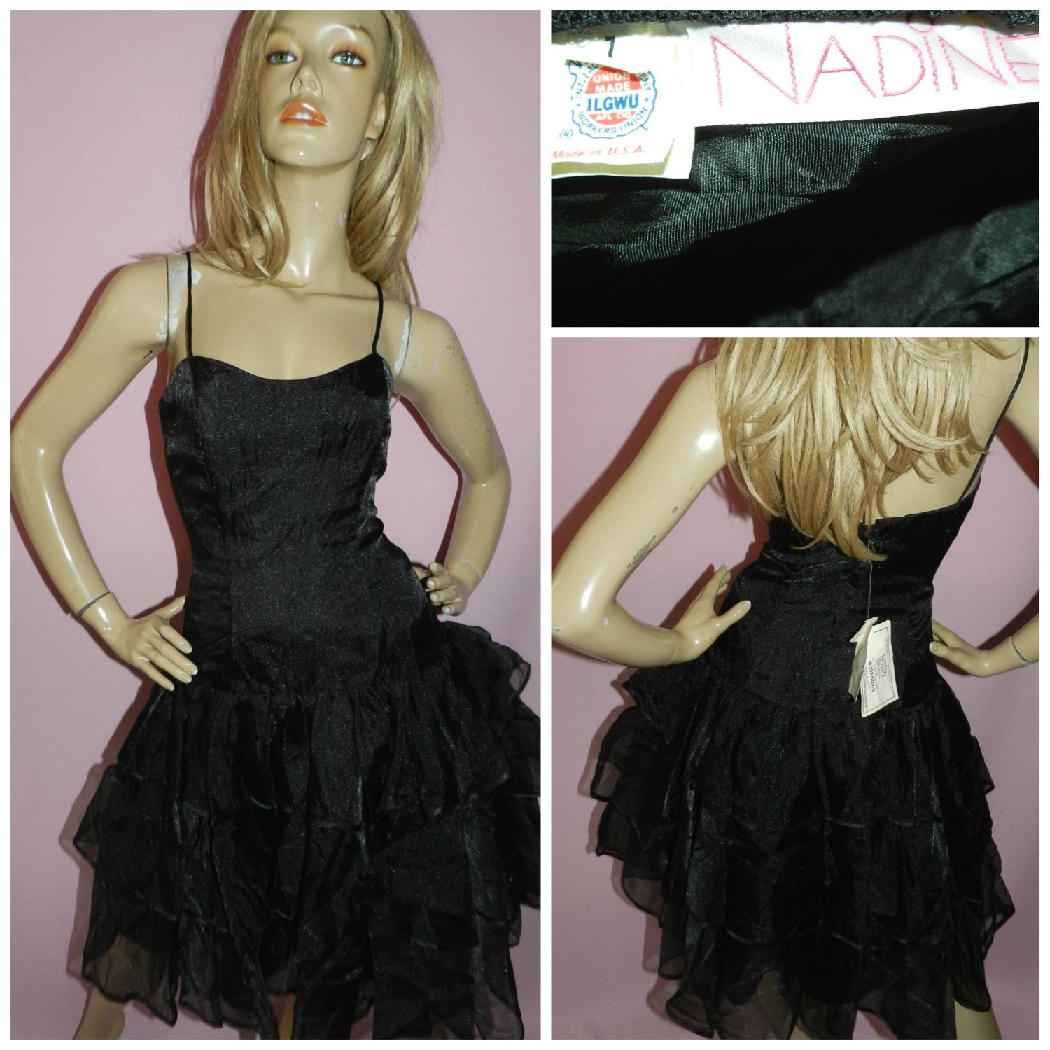 Vintage 1980s Black Net Tulle RARA Prom Party Dress
