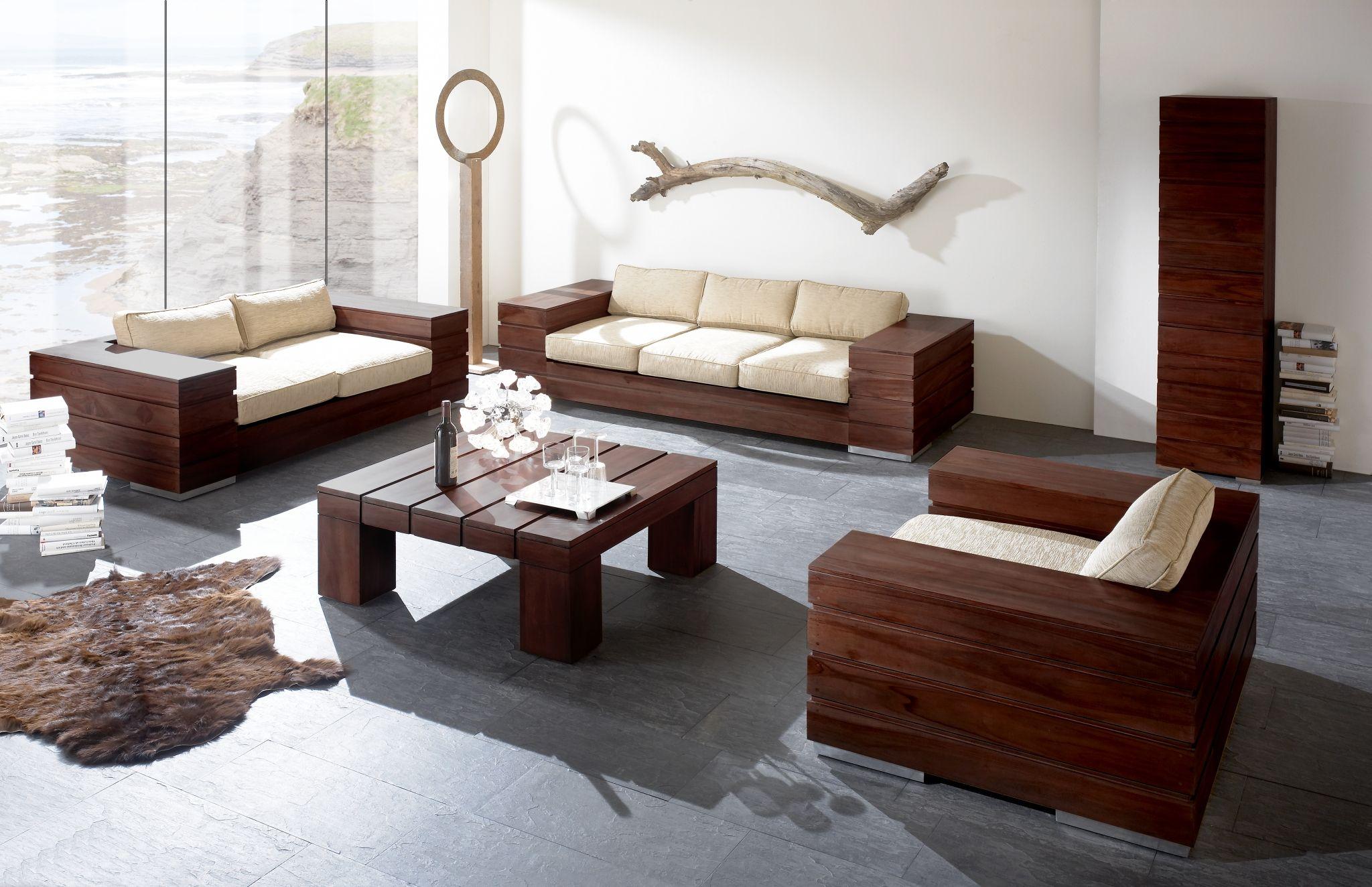 Lounge möbel wohnzimmer stil teak liege set design sofas style
