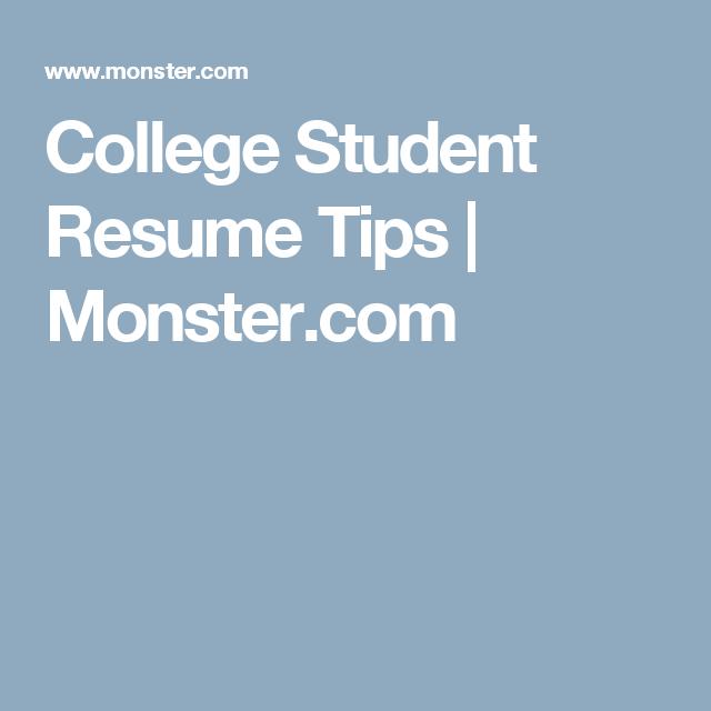 College Student Resume Tips | Monster.com