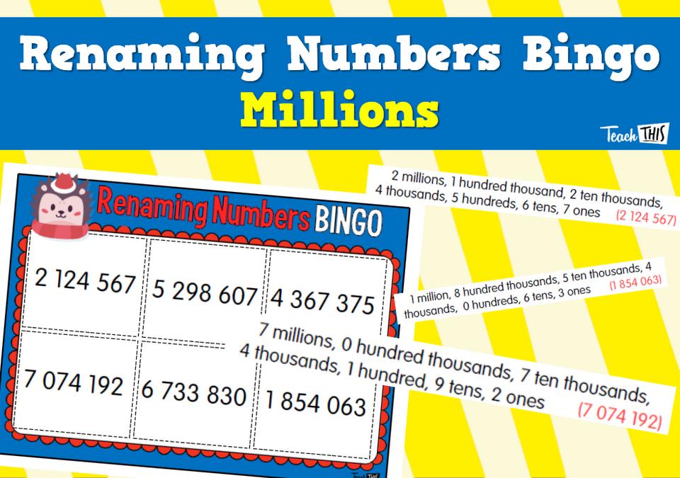 Renaming Numbers Bingo - Millions | Math | Classroom games