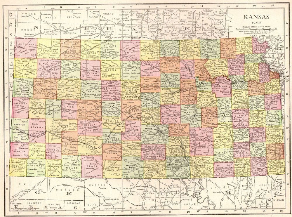 Antique KANSAS Map Vintage State Map Of Kansas Gallery Wall Art - United states map picture frame