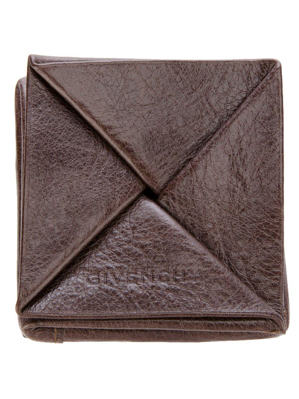 Flower Pattern Brown Leather Triangular Coin Purse Handmade In UK Wallet