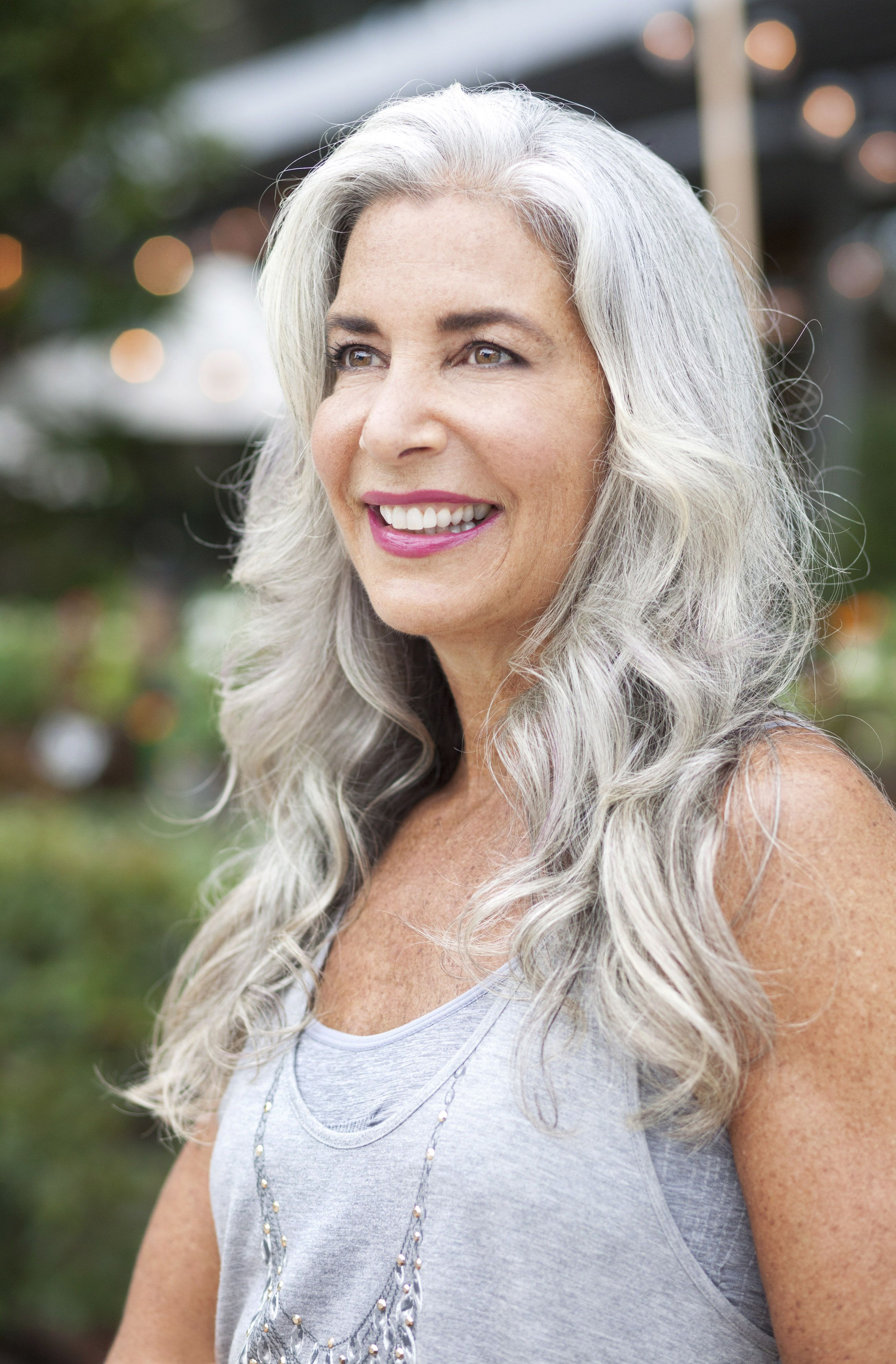 beautiful woman with long silver hair photography http