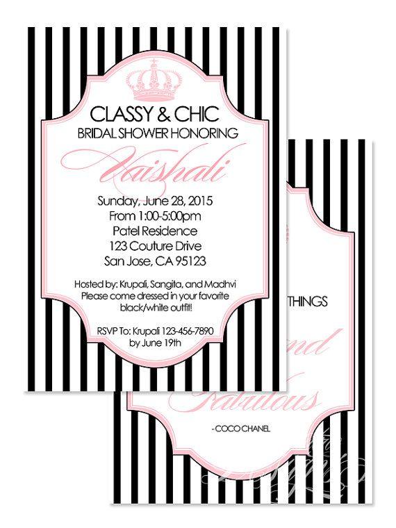 5X7 Classy and Chic Invitation You Print Coco Chanel Invitation