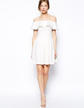 61f41f0a7161 Image 4 of ASOS Texture Ruffle Bardot Skater Bardot Skater Dress, White Off  Shoulder Dress