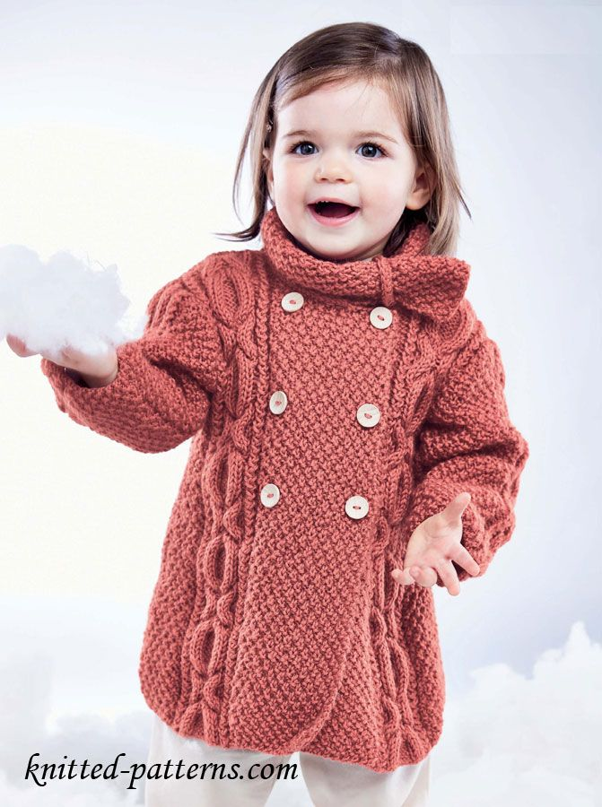 Girl\'s Knit Cable Coat free pattern | tejido niños | Pinterest ...