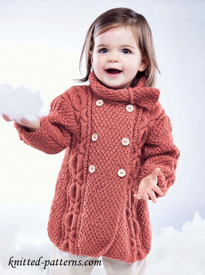 Girl\'s Knit Cable Coat free pattern | tejido niños | Pinterest ...