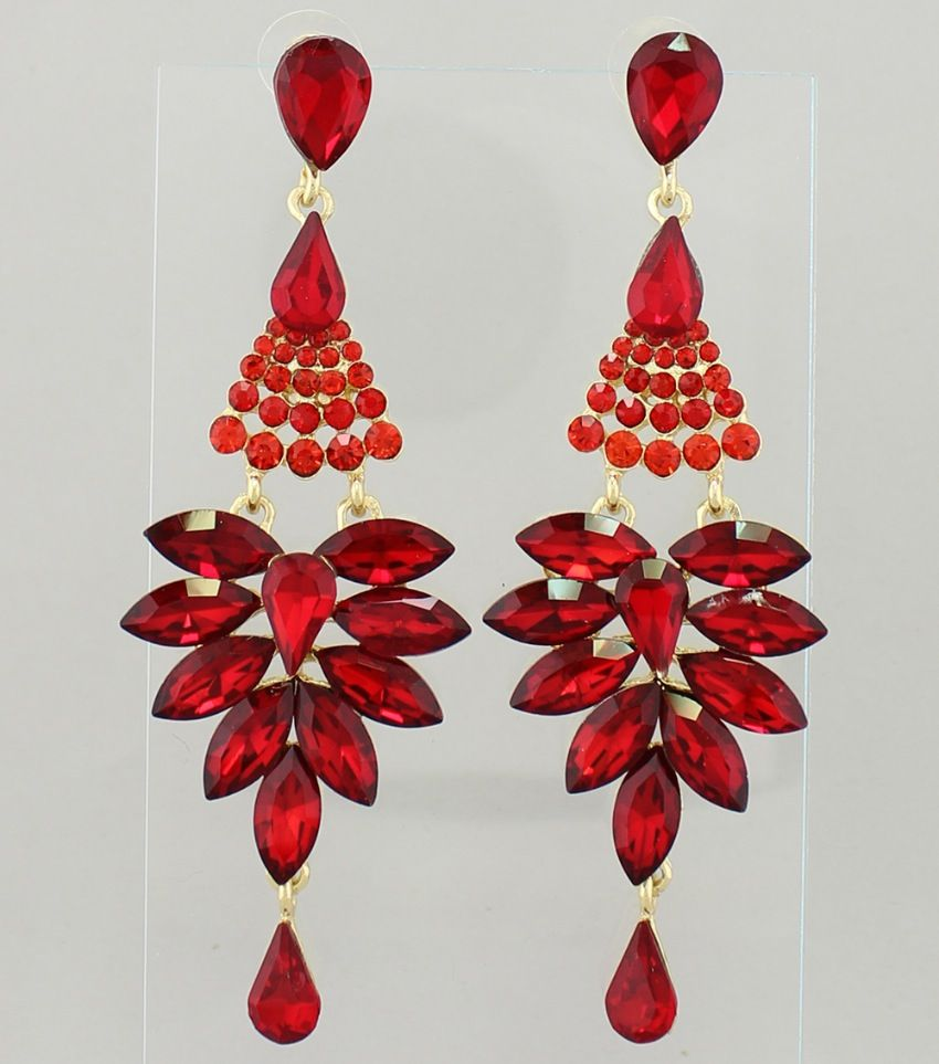Pageant Earrings | Long Red Chandelier Earrings Color: Red, Gold ...