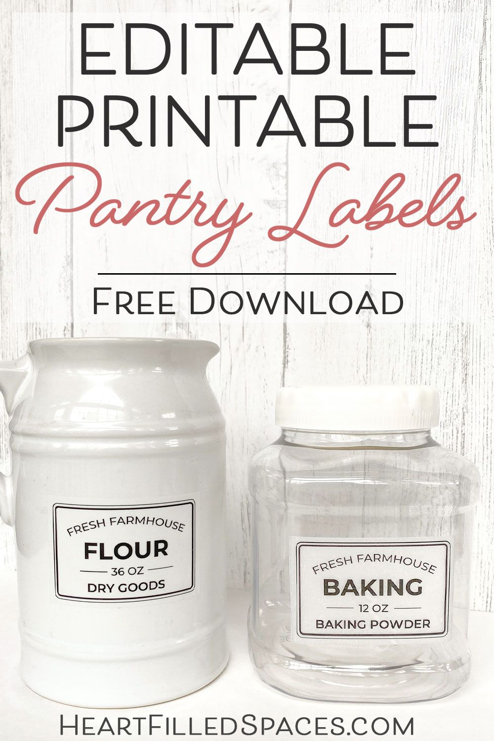 Free editable printable kitchen pantry labels for storage