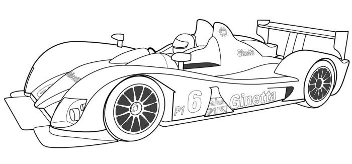 F1 Racing Car Coloring Page printables