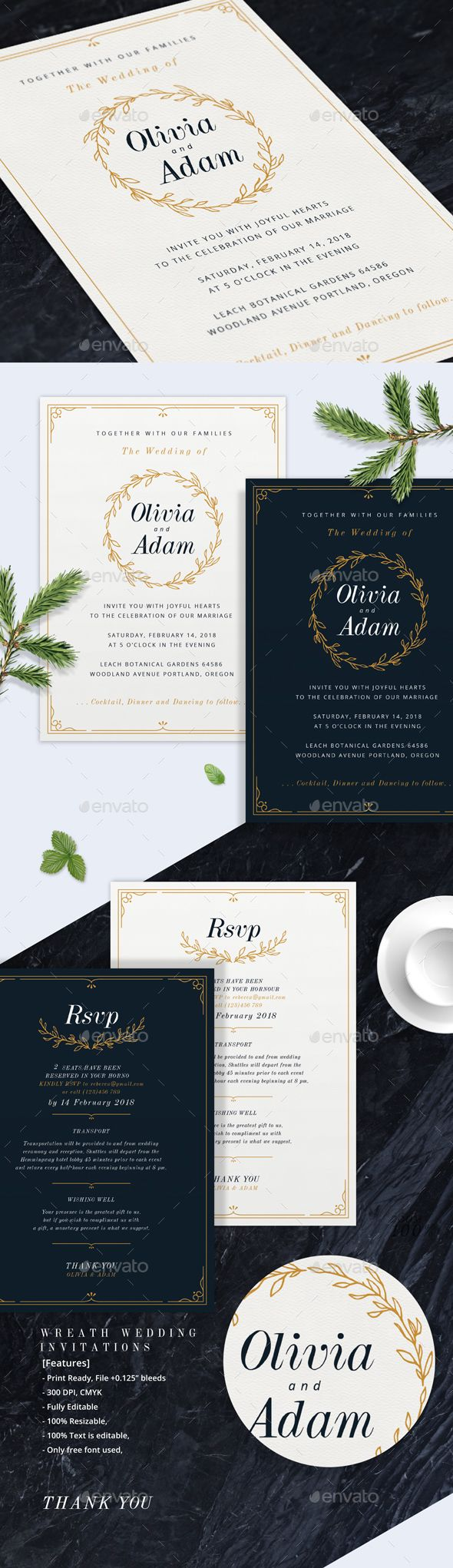 free wedding invitation psd%0A Wreath Wedding Invitations