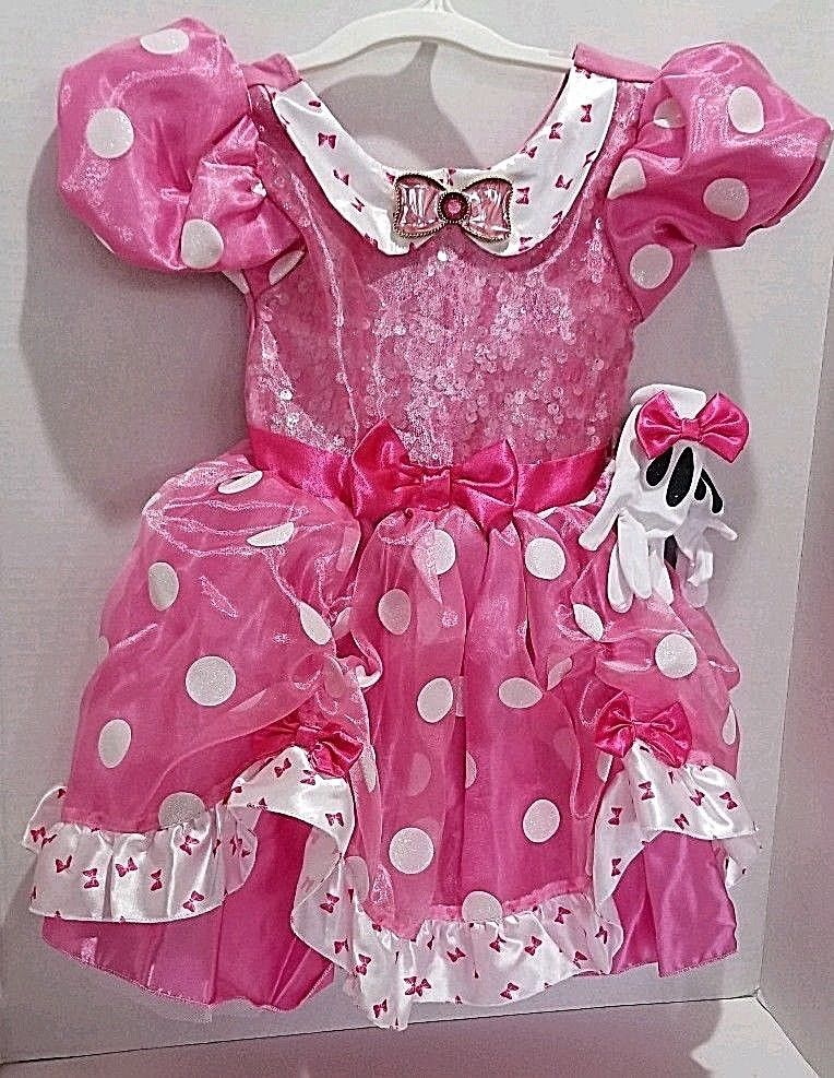 722fc6b89e4c0 Disney Store Pink Minnie Mouse Dress Halloween Costume Polkadots gloves  Size 3 #DisneyStore