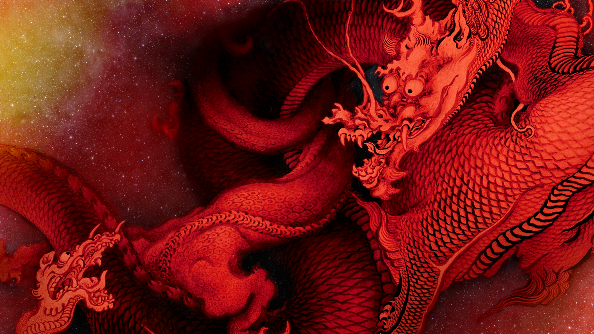 [OC] Dragon Space Wallpaper (wide/4k in comments