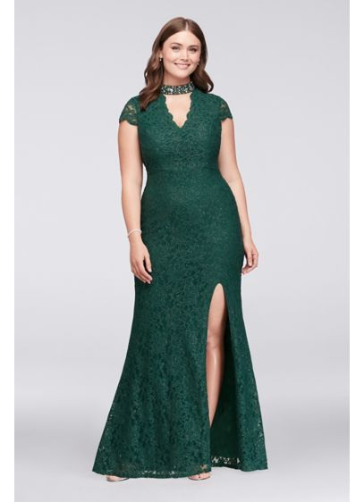 f0107bd7195 Glitter Lace Plus Size Gown with Gem Neckline 3487BJ3W