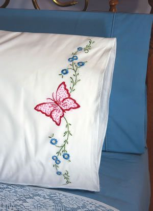 Red Butterfly Pillowcase Embroidery Kit Embroidery