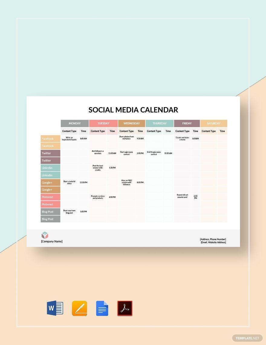 Social Media Calendar Template Free Pdf Google Docs Word Apple Pages Template Net Social Media Calendar Template Social Media Calendar Social Media Planner Template Social media post schedule template