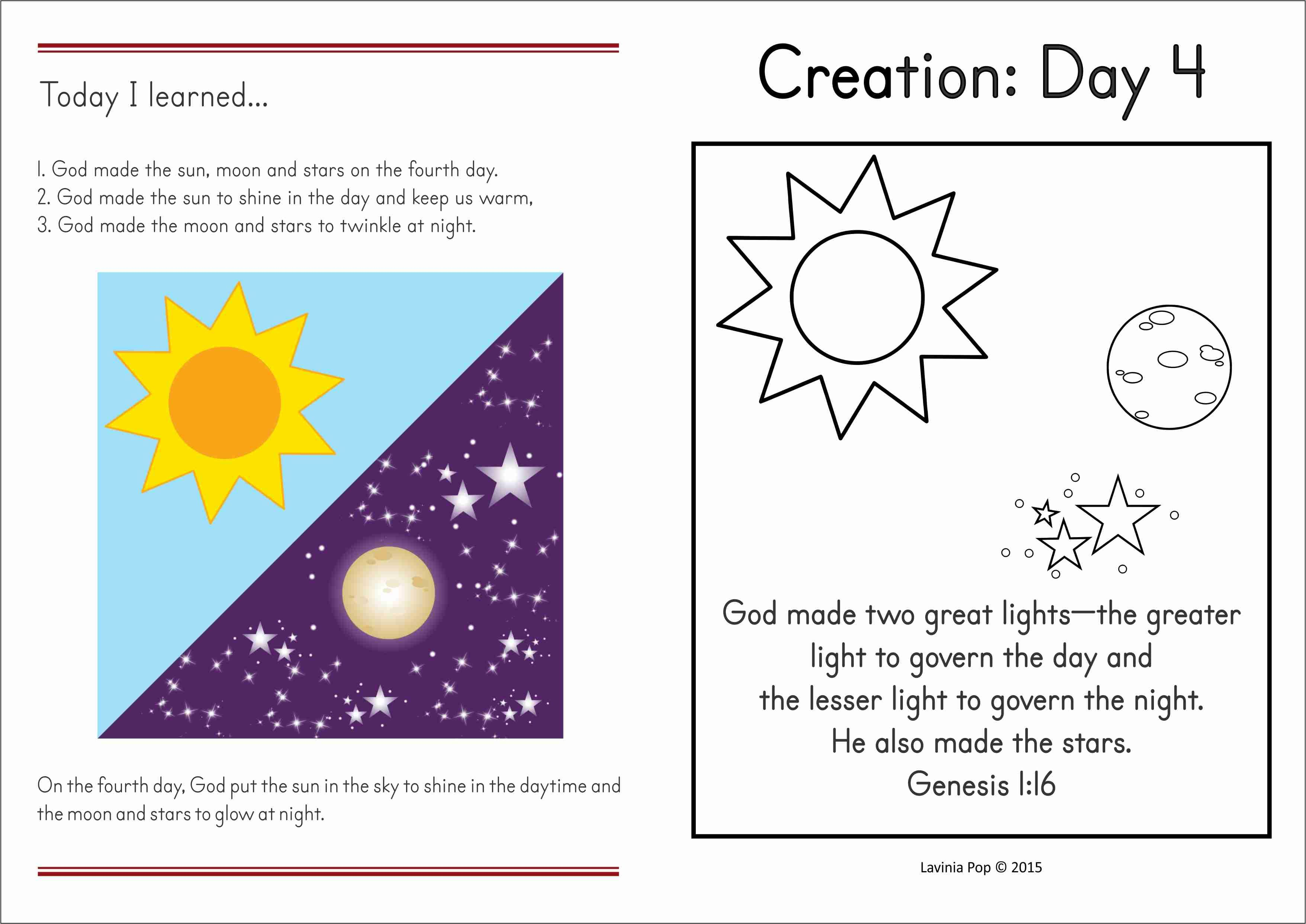 Sunday School Creation Sun Moon And Stars Sunday School