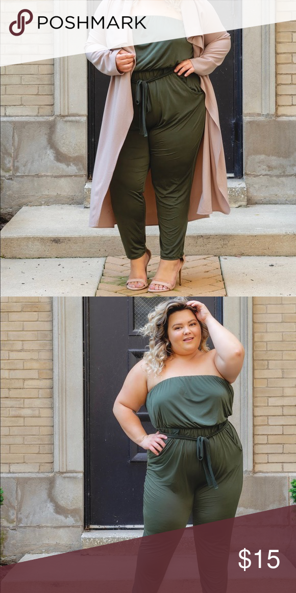 5aba6c5d4e02 Olive Green Jumpsuit So comfortable and sassy! Only worn once! Fashion Nova  Pants Jumpsuits   Rompers