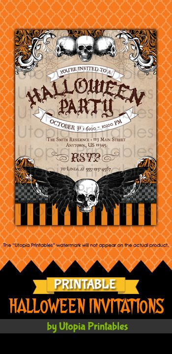printable halloween party invitation with skulls spiderwebs and a