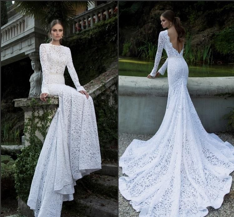 robe de mariée dos nu en dentelle avec manches longues et traine