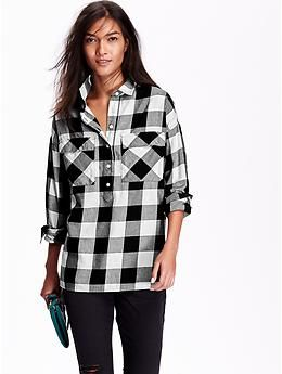 Women's Plaid Flannel Pullover Boyfriend Shirt | Old Navy | things ...