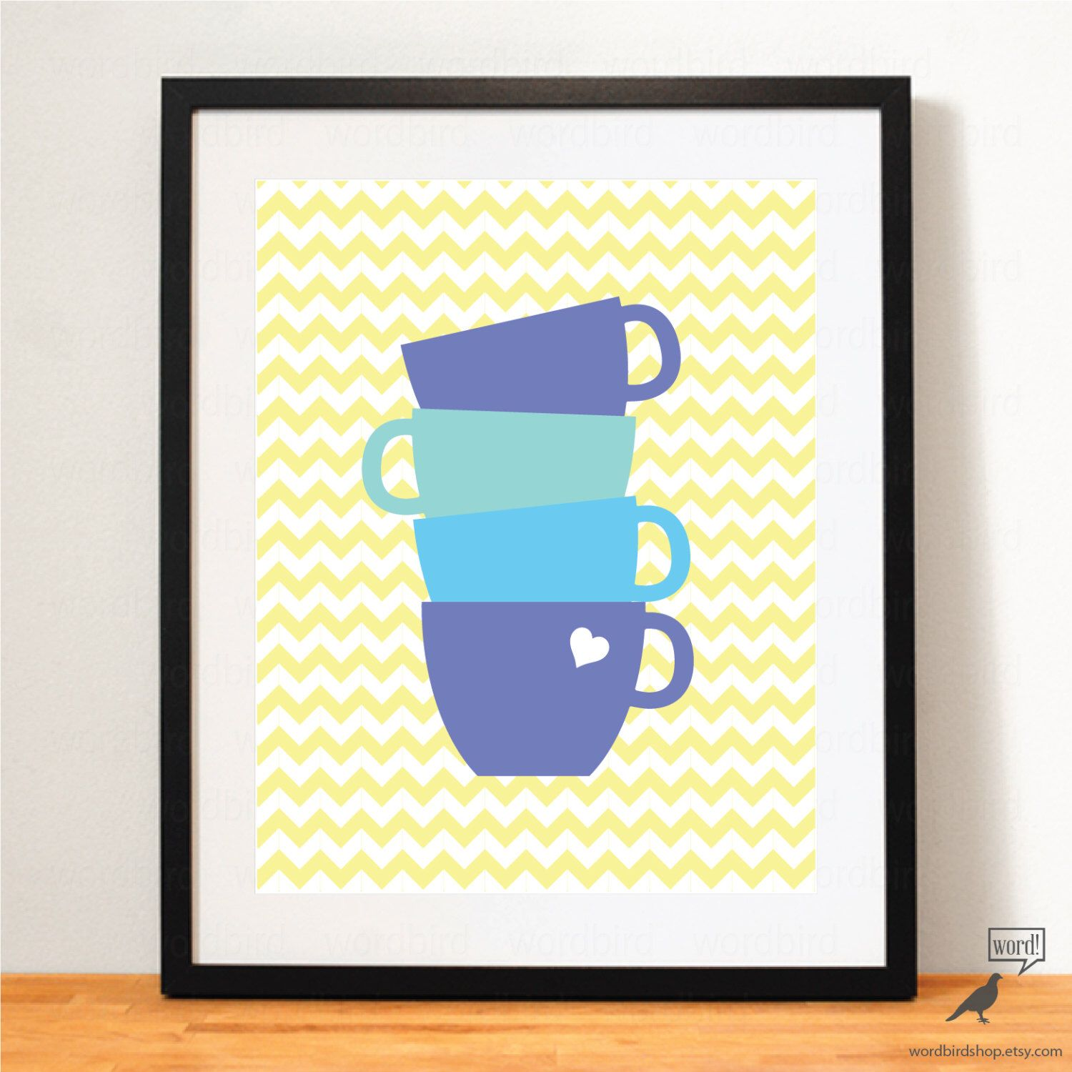 Blue & Yellow Kitchen Wall Art Coffee Poster Teal Kitchen Art Blue ...