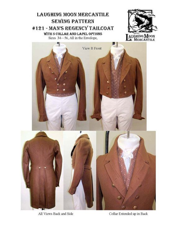 Men\'s Regency Tailcoat Size 34-56 1810-1830 Laughing Moon Costume ...