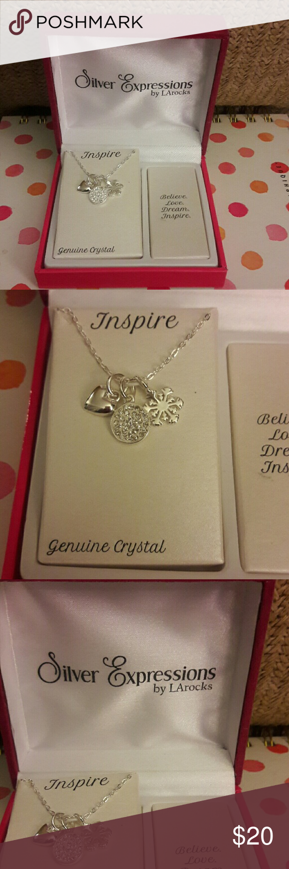 Silver Expressions Inspire Necklace NWT   My Posh Closet   Pinterest     Silver Expressions Inspire Necklace Silver Expressions LA Rocks Inspire  Necklace  18  Silver plated  Has 3 charms  1 heart  1 circle filled with  cubic