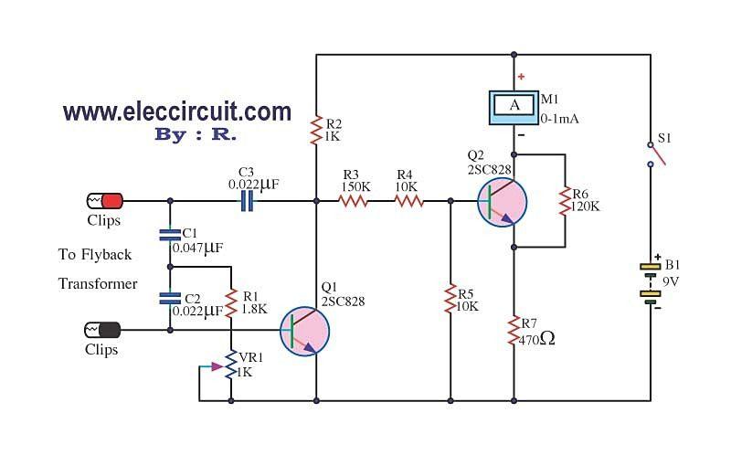 Flyback Transformer Tester Circuit Using 2sc828 Transformers Electronics Circuit Circuit