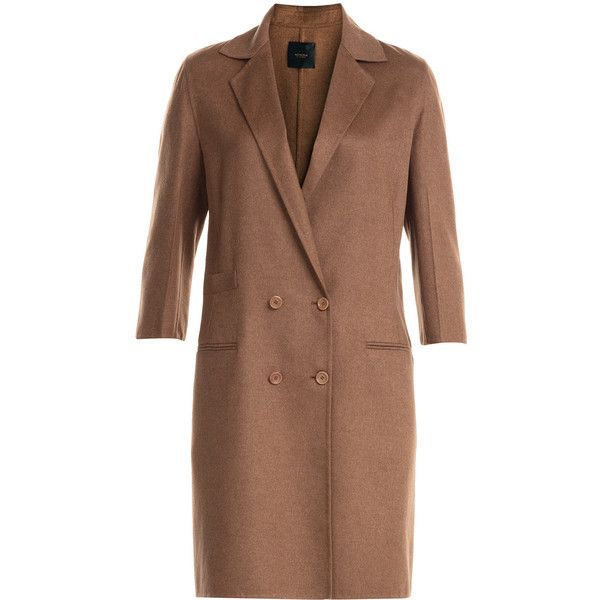 Agnona Silk-Cashmere Coat ($1,747) ❤ liked on Polyvore featuring outerwear, coats, brown, short coat, women, silk coat, agnona, double-breasted coat and cashmere coat