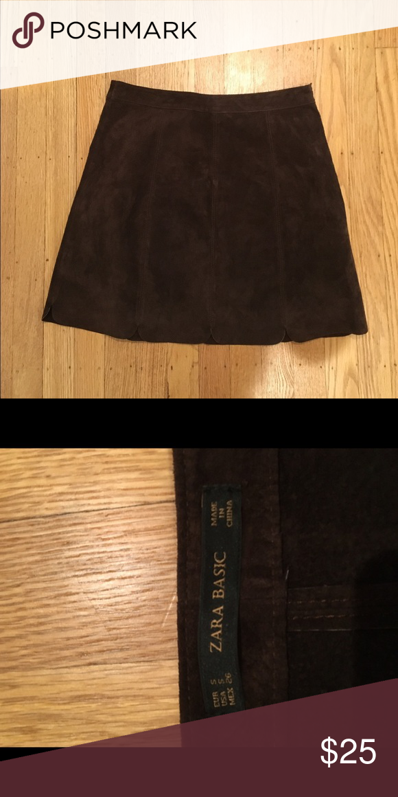 Zara brown suede skirt Brown suede skirt tight and cutout bottom never worn too small Zara Skirts Mini