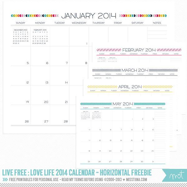 Live Free : Love Life 2014 Calendar – Horizontal! | MissTiina.com {Blog} - gorgeous calendar, perfect for my blog planner!