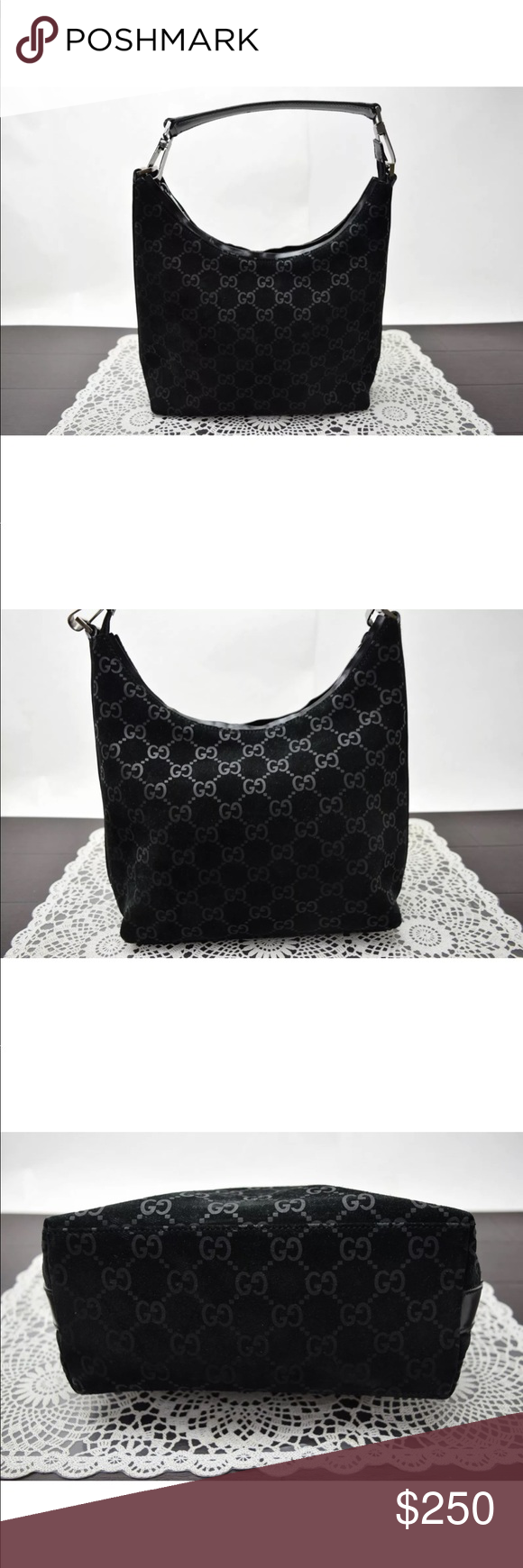 7499a3e54c4 Auth Gucci GG Ssima Black Suede   Leather bag Our items are all guaranteed  to be authentic. Our experienced team has checked and confirmed the  authenticity.