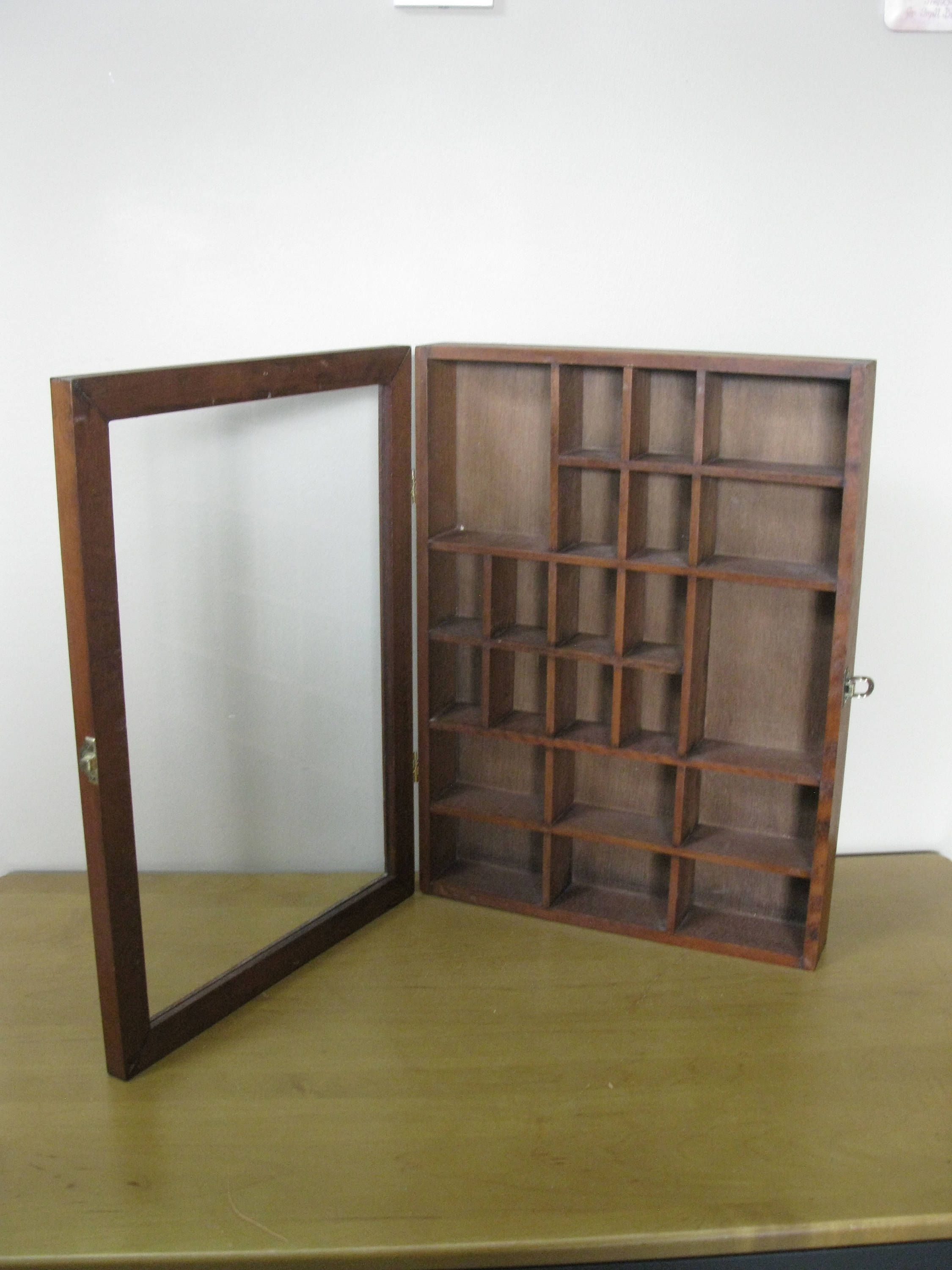 1970s Wood Shadow Box 16 X 12 Glass Door Knick Knack Display Case Wall Curio Miniatures Case 22 Cu Wood Shadow Box Shadow Box Display Case Glass Door