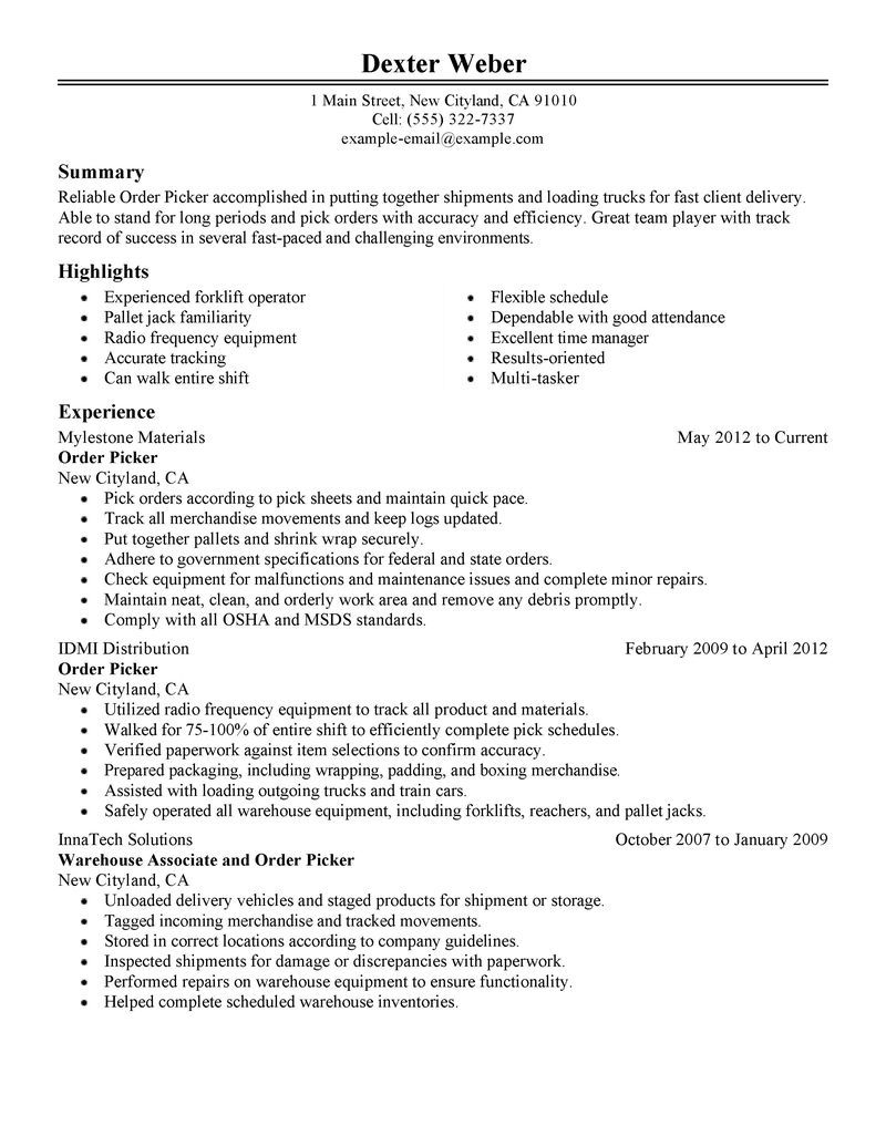 Sample Warehouse Resume Government Resume Guidelines Federal Samples Best Order Picker