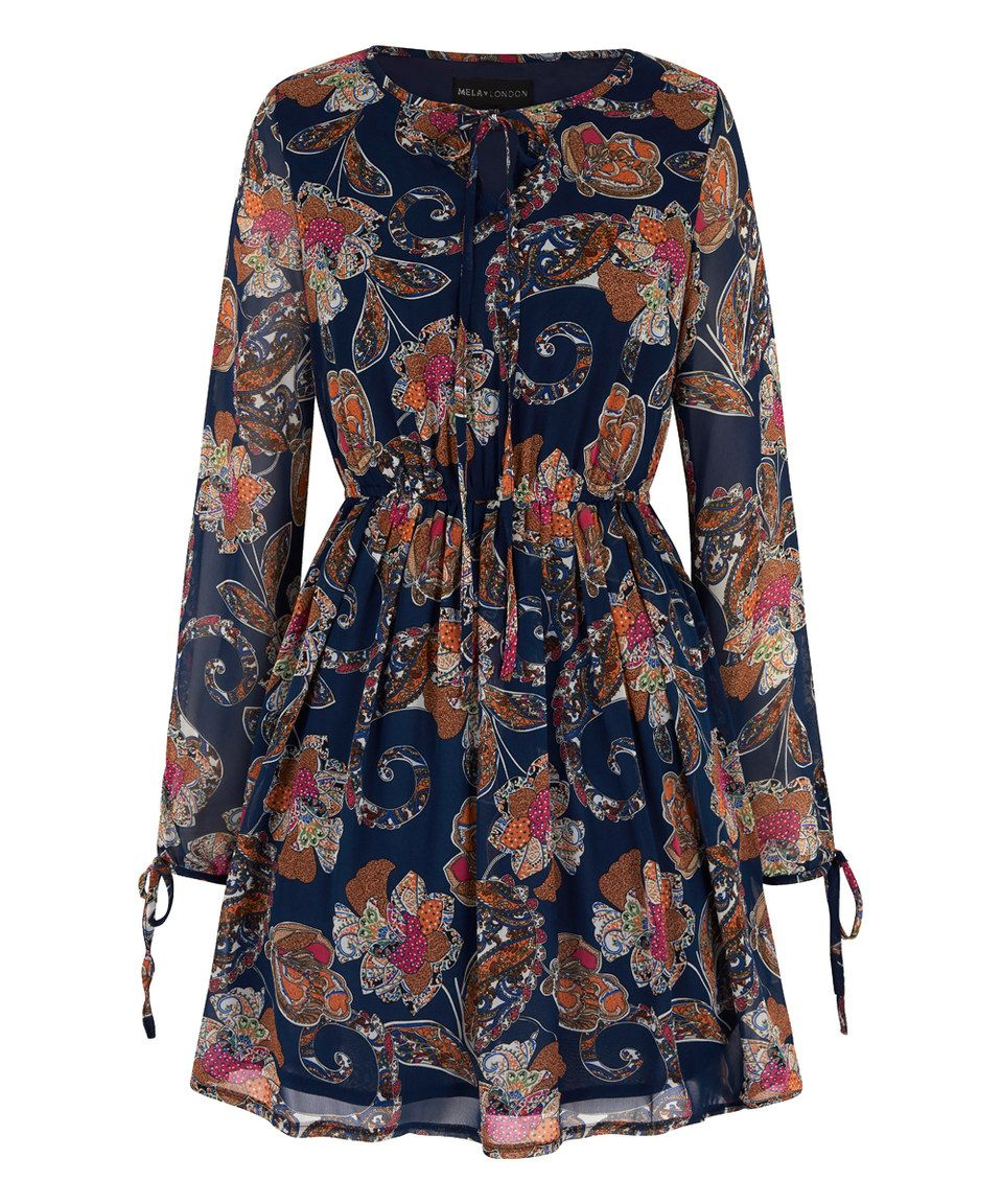 This Blue Paisley Floral Tie-Sleeve A-Line Dress by Mela London is perfect! #zulilyfinds