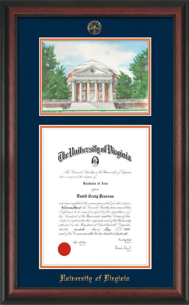 U of Virginia Diploma Frame - Satin Black - w/UVA seal - navy/orange ...