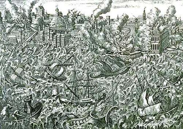 Grabado De La época Del Terremoto De Lisboa De 1755 Ilustraciones