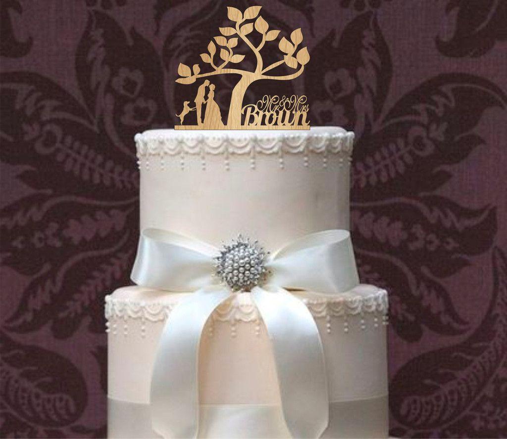 Rustic Wedding Cake Topper, Personalized Cake Topper, Funny wedding cake topper, silhouette cake topper, custom cake topper, Tree of life