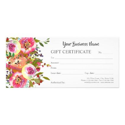 Watercolor Ranunculus Floral Voucher Rack Card Modern Gifts Cyo Gift Ideas Personalize Voucher Design Sophisticated Gifts Cosmetologist Gifts