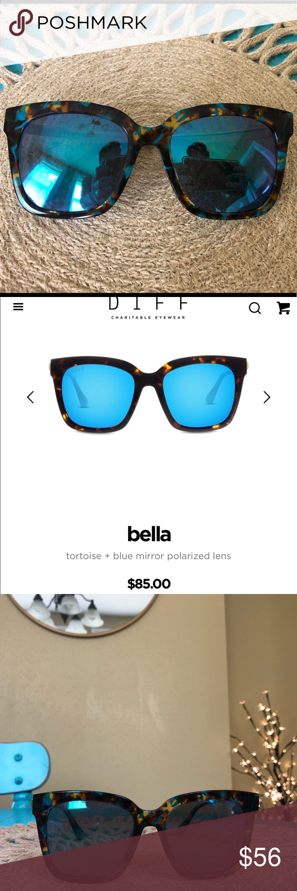 23c649c514b DIFF Bella tortoise + blue mirror polarized lens Selling my DIFF polarized  sunnies. I bought