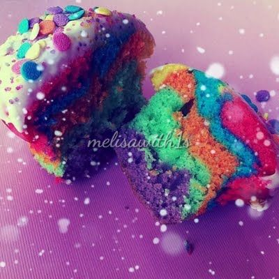 Rainbow Cupcakes.. I may have to make these for Hannahs 1ST Bday party such a cute idea!!