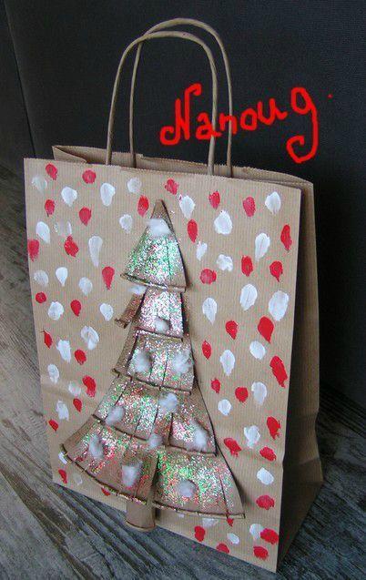 Sac Cadeau Papier Kraft Le Tour De Mes Idées Christmas Trees