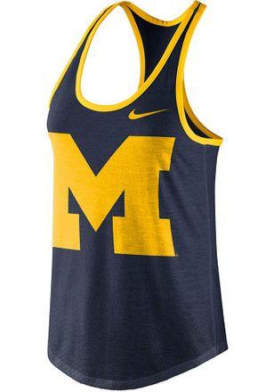 2114ed06d387 Nike Michigan Wolverines Womens Navy Blue Dri-blend Tank Top ...
