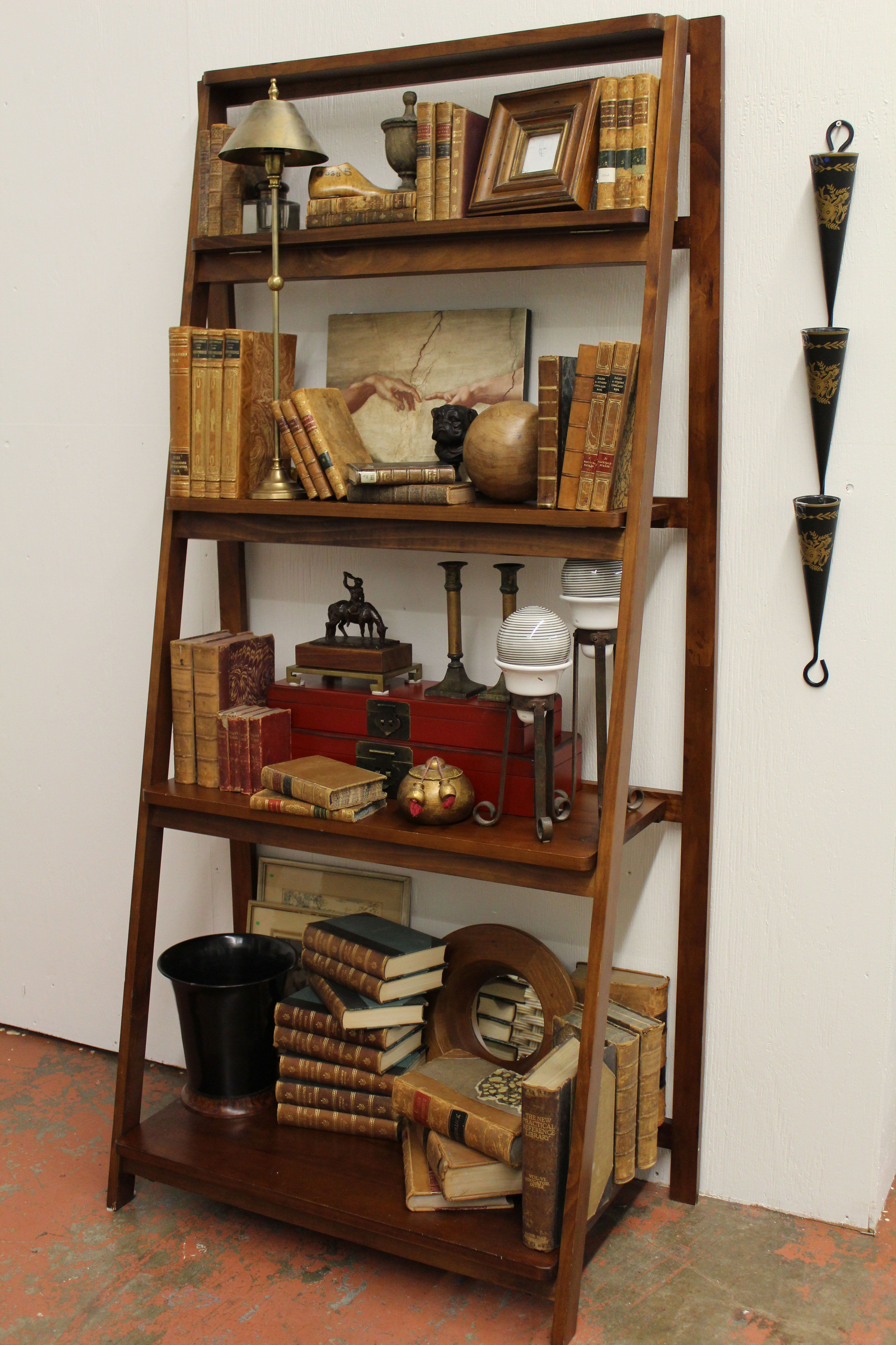 Ladder Shelf as a Library Shelf For the kitchen Pinterest