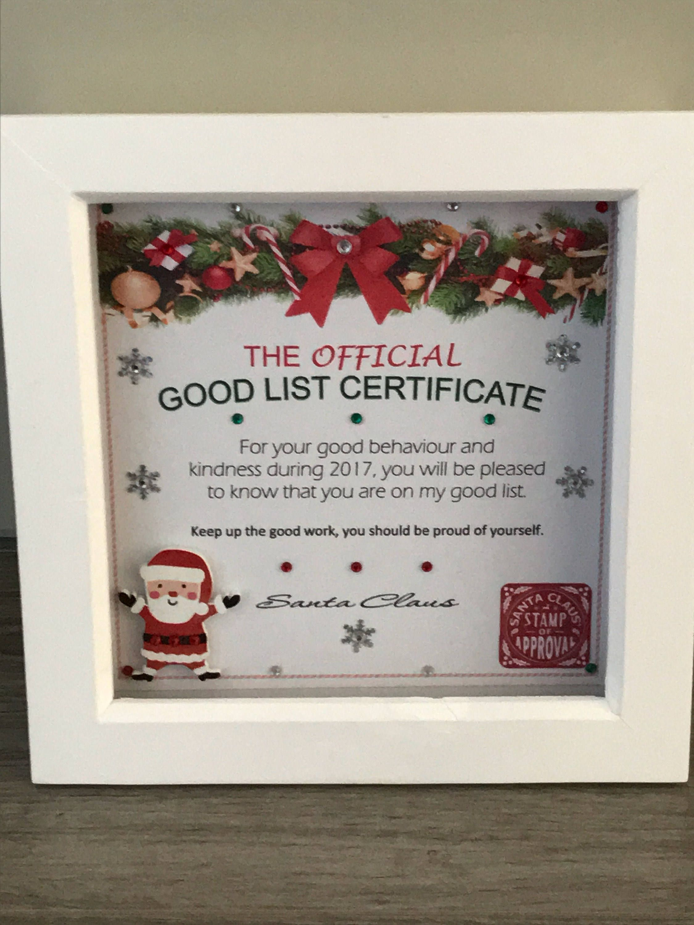 Framed Santa GoodNice List Certificate Personalised Christmas