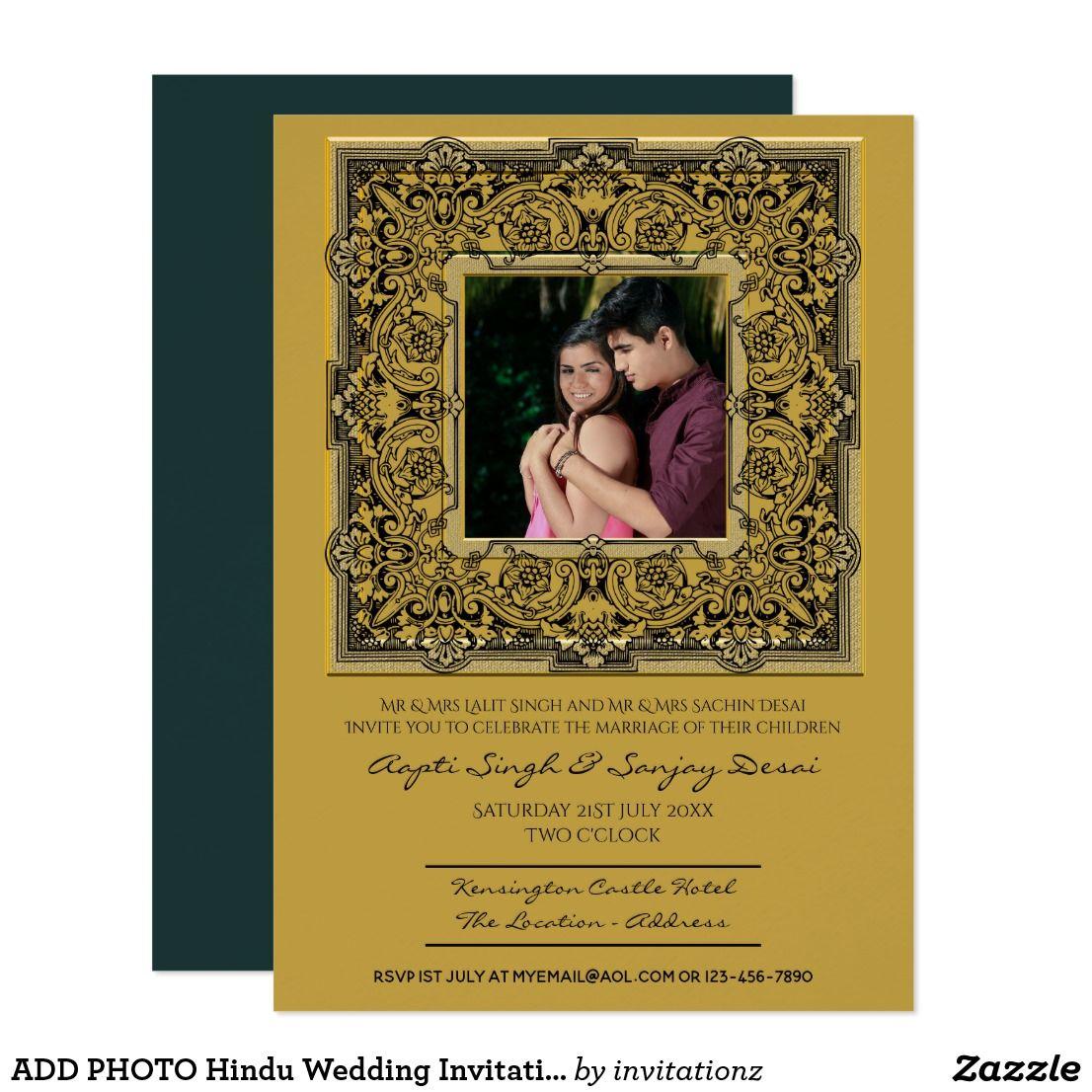 Add Photo Hindu Wedding Invitations Edit Colors Hindu Weddings