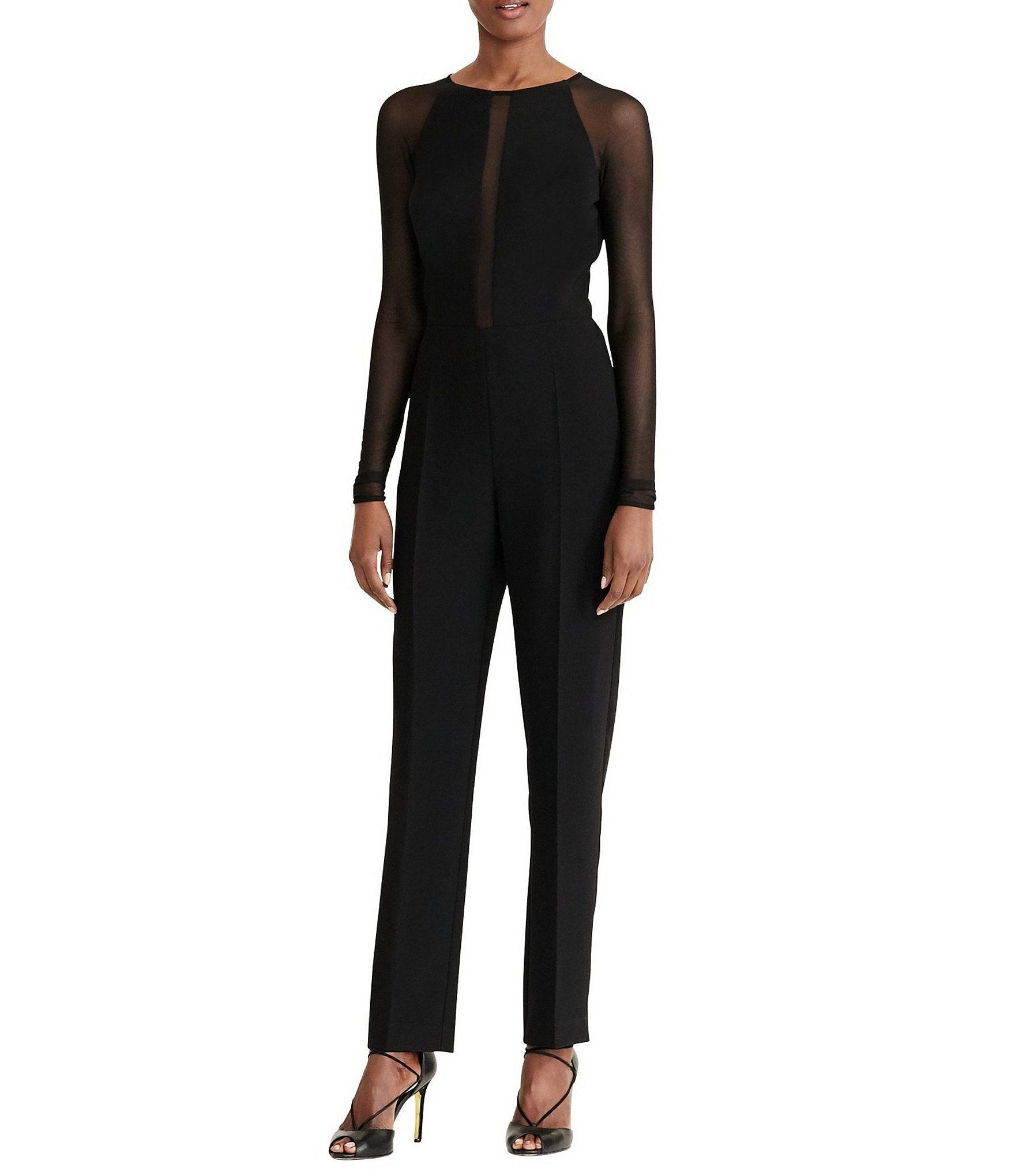 6e1bbadab19 Lauren Ralph Lauren MeshPanel Jersey Jumpsuit  Dillards
