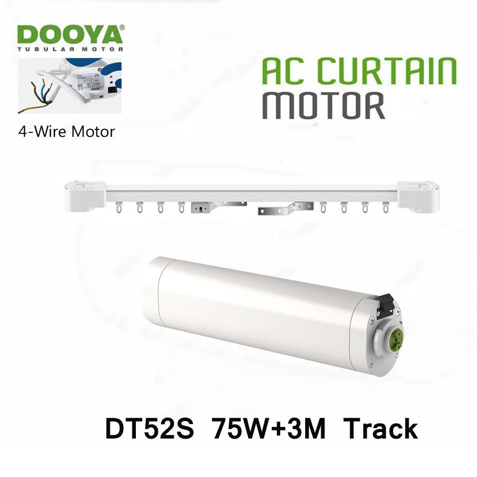 Dooya Dt52s 75w 4 Wire Strong Motor 3m Track Open Closing Window Motorized Curtain Rail Special Project Motor Automati Motorized Curtain Curtain Rails Curtains