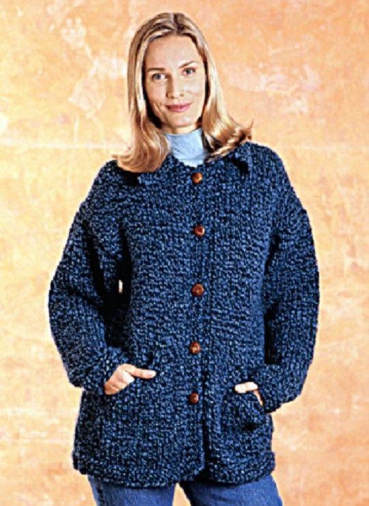 Super Chunky Jacket Knitting Pattern Ladies Plus Sizes 42 62 Ins